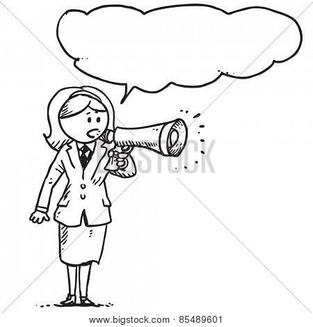 Businesswoman speaking in to megaphone