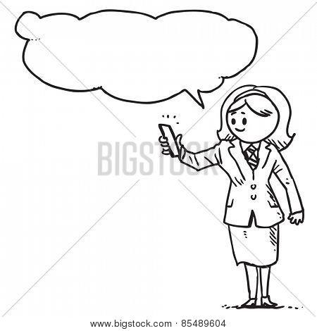 Businesswoman taking selfie speaking