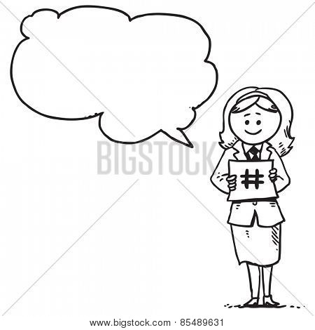 Businesswoman holding hash-tag sign speaking