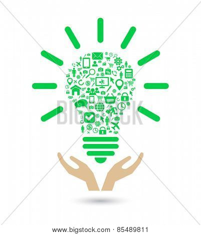 hand support lightbulb social media green concept