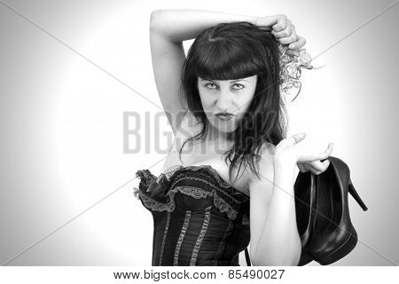 Portrait of an attractive girl. sepia