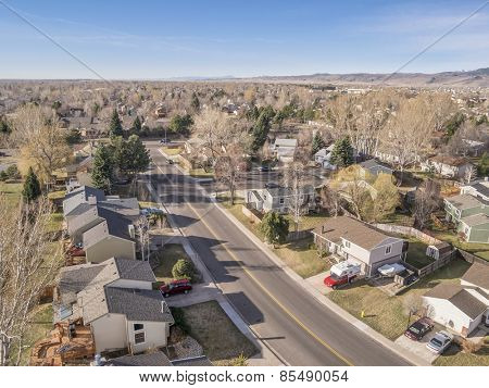 FORT COLLINS, CO, USA - MARCH 16, 2015: Aerial view of typical residential neighborhood along Front Range of Rocky Mountains in Colorado,  early spring