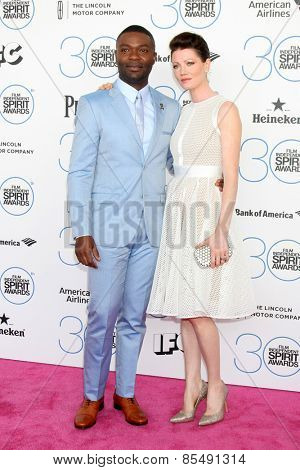 LOS ANGELES - FEB 21:  David Oyelowo, Jessica Oyelowo at the 30th Film Independent Spirit Awards at a tent on the beach on February 21, 2015 in Santa Monica, CA