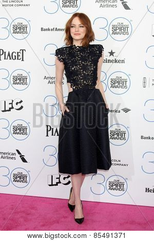 LOS ANGELES - FEB 21:  Emma Stone at the 30th Film Independent Spirit Awards at a tent on the beach on February 21, 2015 in Santa Monica, CA