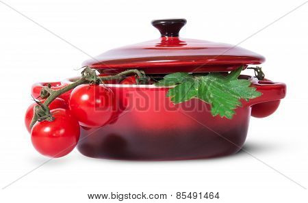 Cherry Tomatoes On Stem And Parsley In Saucepan