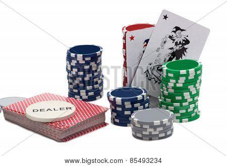 Casino Chips And A Joker Card