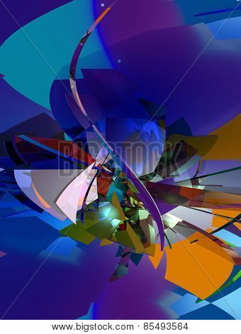 3D illustration of abstract, multicolored