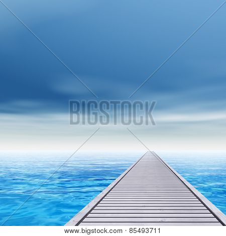 Concept or conceptual old wood or wooden deck pier on coast of exotic blue clear sea, ocean waves vacation or tourism sky background
