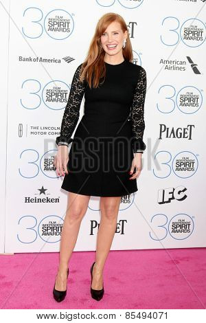 LOS ANGELES - FEB 21:  Jessica Chastain at the 30th Film Independent Spirit Awards at a tent on the beach on February 21, 2015 in Santa Monica, CA