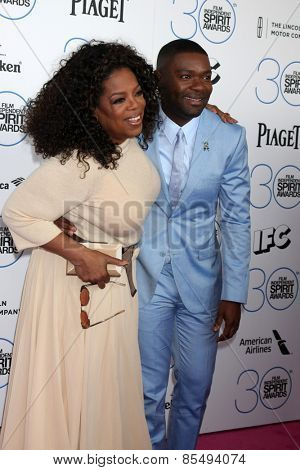 LOS ANGELES - FEB 21:  Oprah Winfrey, David Oyelowo at the 30th Film Independent Spirit Awards at a tent on the beach on February 21, 2015 in Santa Monica, CA
