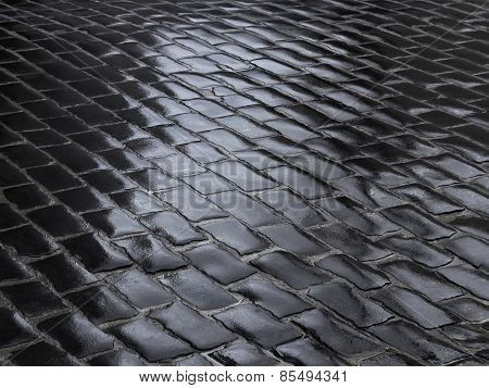 Fragment Of Wet Cobbled Road