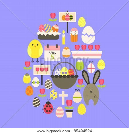 Easter Flat Icons Set Egg Shaped Over Purple
