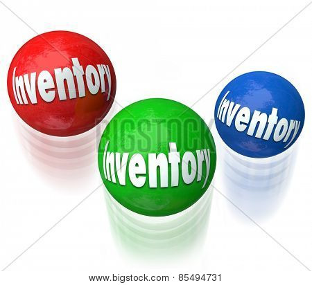 Inventory word on balls being juggled in a difficult or challenging job, task or work to manage products in a warehouse or company shipping and receiving goods for customers