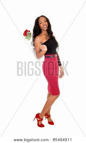 Girl With Red Rose.