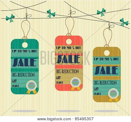 Three, summer, beautiful, isolated stickers with text Sale, retro design