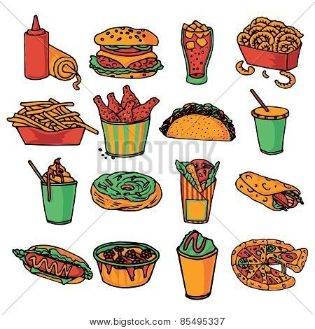 Fast food menu icons set color