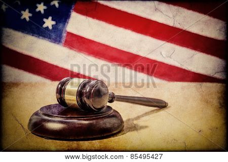 Gavel on a background of the American flag
