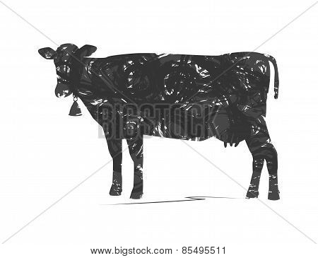 abstract silhouette of cow