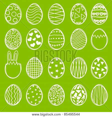 Set of Sketched Easter Eggs
