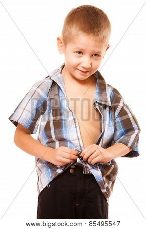 Little Boy Buttoning On Shirt, Isolated On White