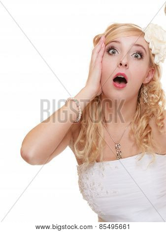 Wedding Day. Surprised Bride Face Isolated