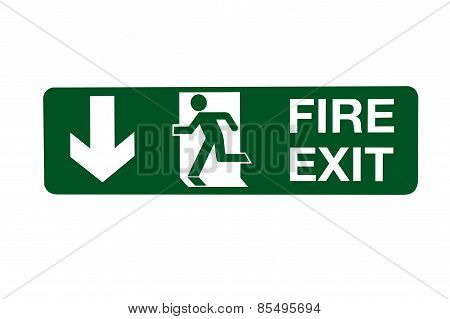 Fire Exit Direction Sign - Below