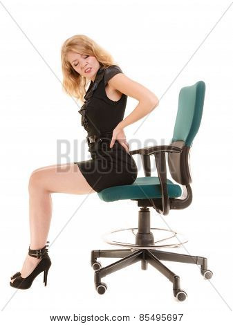 Young Business Woman With Backache Back Pain.
