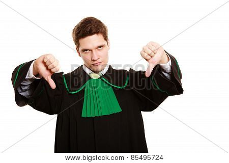 Law. Man Lawyer In Polish Gown Showing Thumb Down