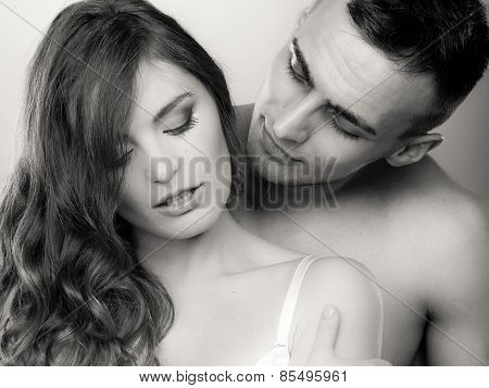 Passionate Young People In Love, Woman And Man