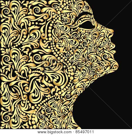 Girl's Face From The Golden Floral Ornament