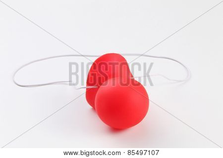 crown red nose on the white background