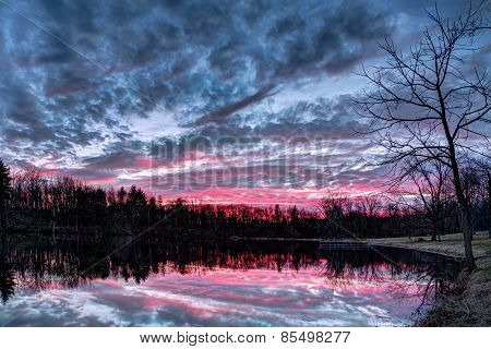 Dramatic Sunset Pond