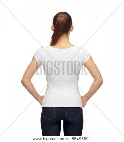 t-shirt design, advertisement and people concept - smiling woman in blank white t-shirt