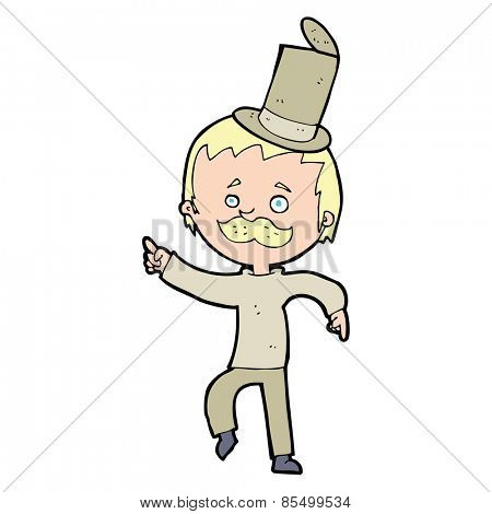 cartoon man in broken old hat