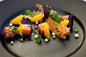 picture of parsnips  - Salmon orange parsnip puree and toast on a plate