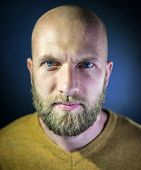 image of bald man  - Portrait of a handsome bald young man with beard - JPG