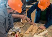 image of wood craft  - Craft workers in wood factory - JPG