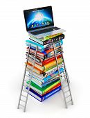 foto of hardcover book  - Stack of color hardcover books with stepladders and laptop or notebook computer PC on top isolated on white background - JPG