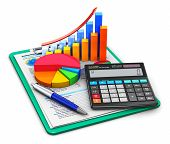 picture of stock market data  - Office electronic calculator bar graph and pie diagram and pen on financial reports in clipboard with colorful data isolated on white background - JPG