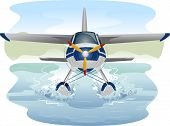 picture of amphibious  - Illustration of a Seaplane Cruising Through Water  - JPG