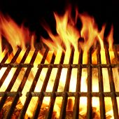 image of flames  - Empty Barbecue Clean Hot Flaming Grill Close - JPG
