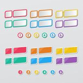 stock photo of staples  - two set of blank colorful rectangle papers stapled with 1 - JPG