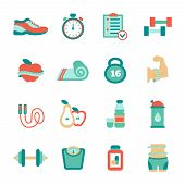 pic of skipping rope  - Set of fitness flat icons with sneakers - JPG