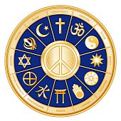 foto of khanda  - International Symbol of Peace surrounded by 12 world religions with titles in a blue  - JPG