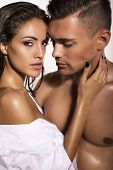 pic of studio  - fashion photo of sexy impassioned couple posing in studio - JPG