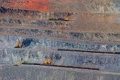 picture of open-pit mine  - iron ore open pit mining quarry gray brown - JPG