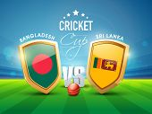 foto of cricket ball  - Bangladesh Vs Sri Lanka Cricket match concept with their countries flag on winning shield and ball on stadium background - JPG