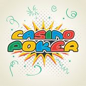 picture of poker machine  - Colorful text Casino Poker on pop art explosion - JPG