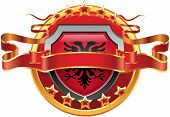 pic of albania  - Shield with tape and with the stars and the flag of Albania - JPG