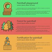 stock photo of barricade  - Design elements for paintball playground barricades on colored backgrounds with sample text for your business or website - JPG